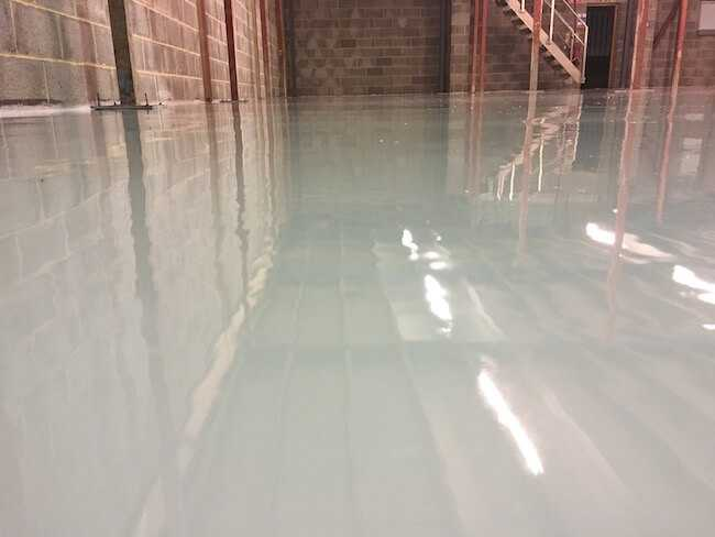 close up of epoxy flooring