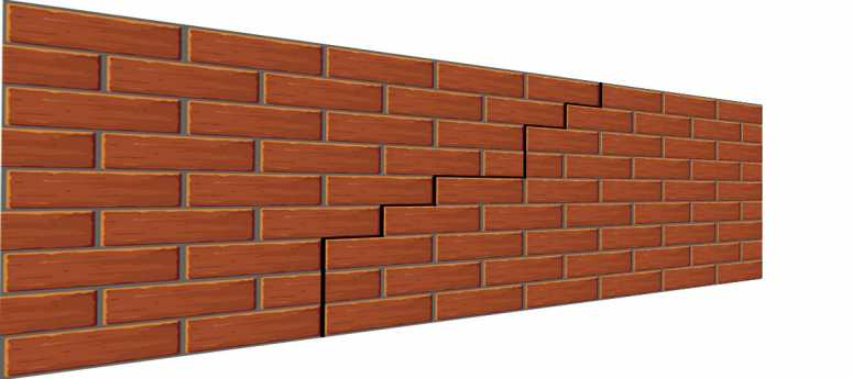 Crack in a brick wall 3D