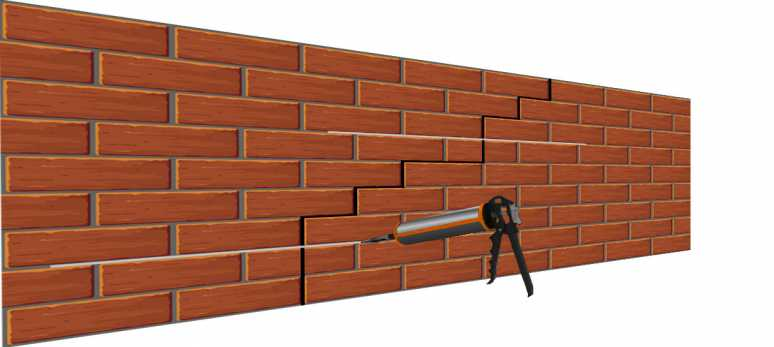 Crack in a brick wall 3D with injection Gun