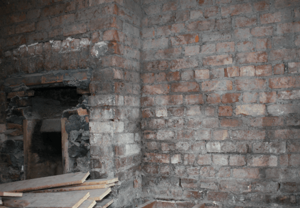 Exposed damp chimney