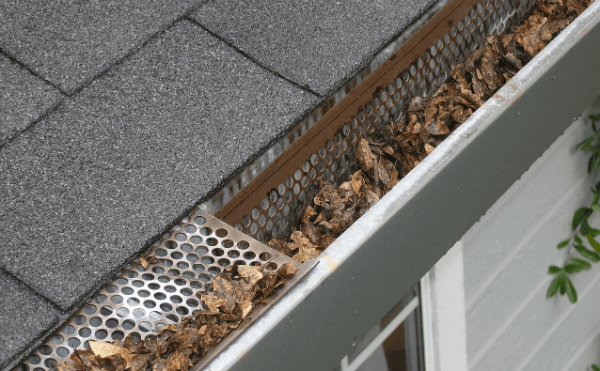 Leaves blocking house gutter