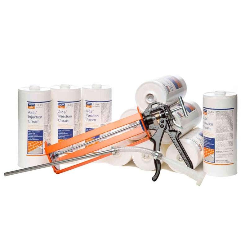 10 x Aida Injection Cream 1 Litre Cartridge + Pro Gun & Nozzle