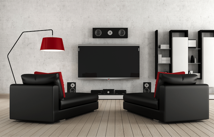 Home cinema in converted basement
