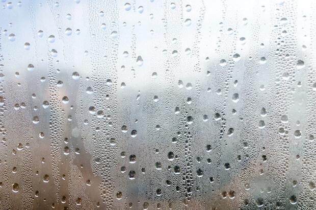 condensation on bedroom window close up