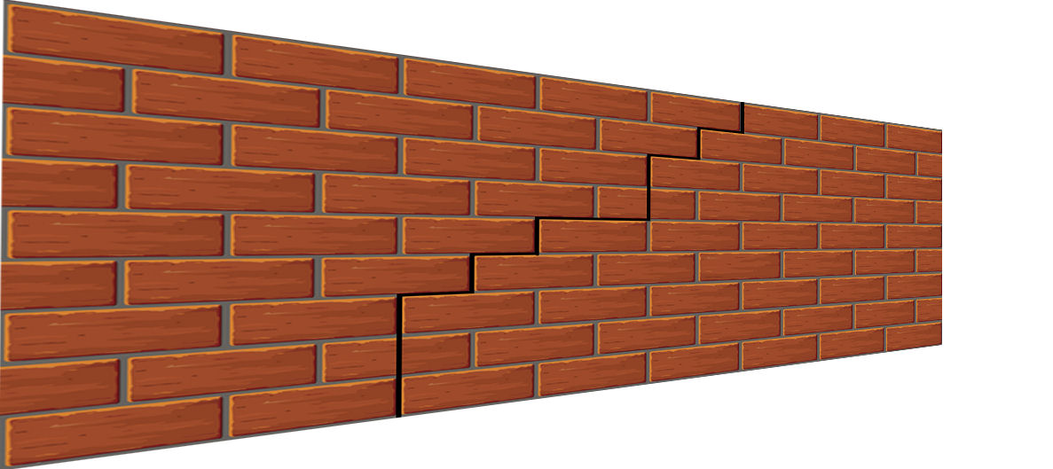 Crack in a brick wall 3D