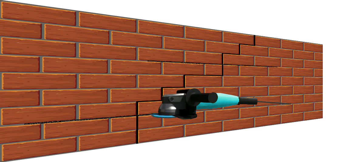 Crack in a brick wall with grinder