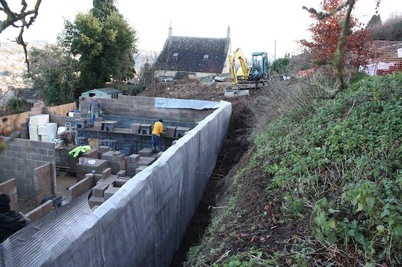 Exterior basement foundation wall waterproofing