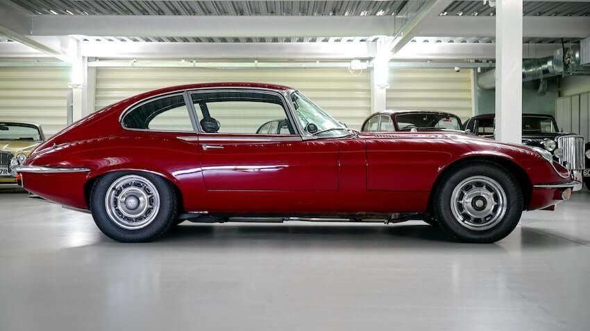 classic car on epoxy garage floor