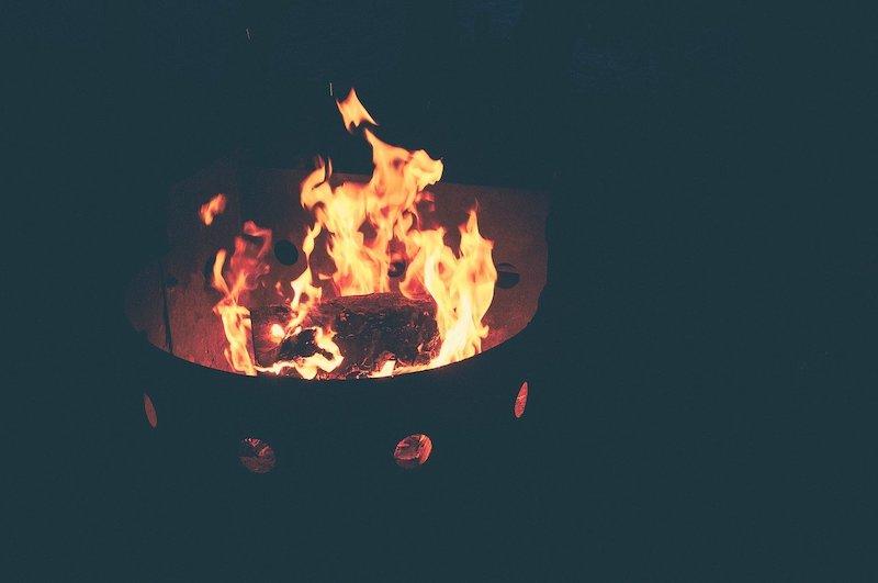 fire pit in sunken garden