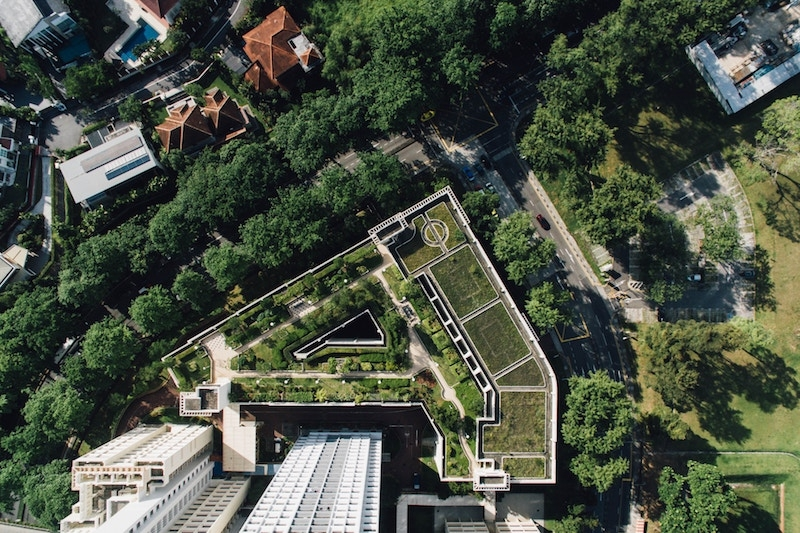 intensive green roof aerial view